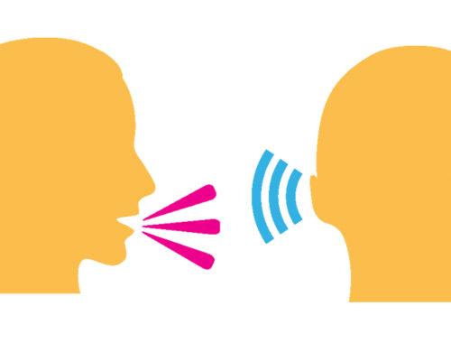 Desenho de uma interação entre duas pessoas: uma emite um som e a outra ouve.