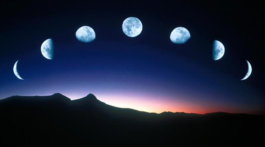 Fases da lua no céu.